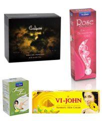 St.John-Vijohn Women Care Kit (Hair Remover Lime & Turmeric Cream Fairness Cream & Body Butter & Perfume Eclips)-(Code-VJ467)