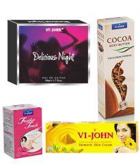 St.John-Vijohn Women Care Kit (Hair Remover Rose & Turmeric Cream Fairness Cream & Body Butter & Perfume Delious Night)-(Code-VJ474)