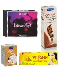 St.John-Vijohn Women Care Kit (Hair Remover Sandal & Turmeric Cream Fairness Cream & Body Butter & Perfume Delious Night)-(Code-VJ476)