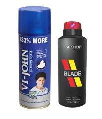 Archies  Deo Black Is Black & Vijohn Shave Foam 400GM For All Type Of Skin-(Code-VJ777)