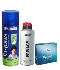 Archies  Deo Privacy & Vijohn Shave Foam 400GM For Sensitive Skin & After Shave Splash-(Code-VJ785)