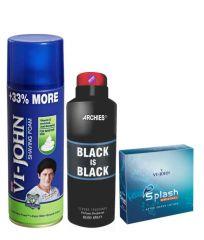 Archies  Deo Black Hole & Vijohn Shave Foam 400GM For Sensitive Skin & After Shave Splash-(Code-VJ791)