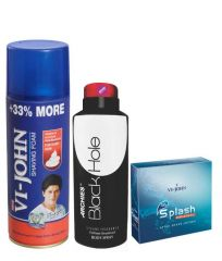 Archies  Deo Black Is Black & Vijohn Shave Foam 400GM For Hard Skin & After Shave Splash-(Code-VJ793)
