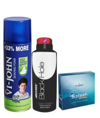 Archies  Deo Black Is Black & Vijohn Shave Foam 400GM For Sensitive Skin & After Shave Splash-(Code-VJ794)