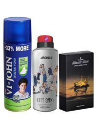 Archies  Deo City Gang & Vijohn Shave Foam 400GM For Sensitive Skin & After Shave Black Sea-(Code-VJ797)