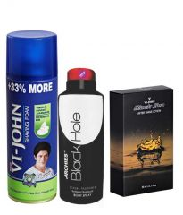 Archies  Deo Black Is Black & Vijohn Shave Foam 400GM For Sensitive Skin & After Shave Black Sea-(Code-VJ809)