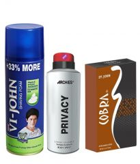 Archies  Deo Privacy & Vijohn Shave Foam 400GM for Sensitive Skin & After Shave Cobra-(Code-VJ815)