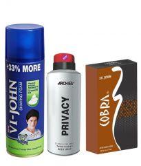 Archies  Deo Privacy & Vijohn Shave Foam 400GM For Sensitive Skin & After Shave Cobra-(Code-VJ815)