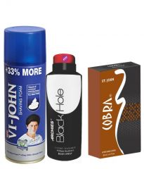 Archies  Deo Black Is Black & Vijohn Shave Foam 400GM For All Type Of Skin & After Shave Cobra-(Code-VJ822)