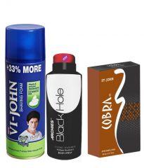 Archies  Deo Black Is Black & Vijohn Shave Foam 400GM For Sensitive Skin & After Shave Cobra-(Code-VJ824)