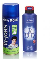 St.John-Vijohn Shave Foam 400GM For Sensitive Skin & VIJOHN Deo Splash-(Code-VJ93)