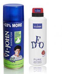 St.John-Vijohn Shave Foam 400GM For Sensitive Skin & VIJOHN Deo Pure-(Code-VJ95)