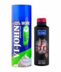 St.John-Vijohn Shave Foam 400GM For Sensitive Skin & VIJOHN Deo Night-(Code-VJ94)