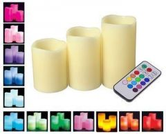 Luma LED 12 Color Changing Real Paraffin Wax Candles Flame Less With Timer