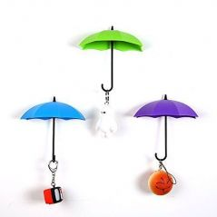 Connectwide Umbrella Key Holder, Umbrella Drop Style Clothes Key Hat Wall Hanger Hooks, Creative Umbrella Shape Wall Mounted Sticky Single Hook