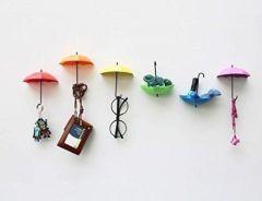 Colorful Decorative Umbrella Drop Style Clothes Key Hat Robe Hall Wall Hook For Bathroom Kitchen Door Shelves Hanger Hooks - 3 PCs