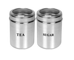 Dynamic Store Set of 2 Tea and Sugar See through canisters - size 10 - DS_194