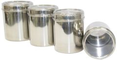 Dynamic Store Stainless Steel Kitchen storage Canisters with see through lid - Set of 4 - DS_26