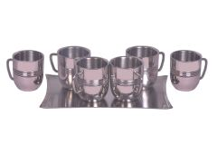 Dynamic Store Set Of 6 Cappacino Mug With Ring And A Tray - DS_311