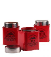 Dynamic Store Red Square half deck Tea, Coffee & Sugar canister - DS_373