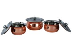 Dynamic Store 6 Pcs Stainless Steel - 3 Pcs Handi And 3 Lid Set With Copper Plated Bottom - DS_402