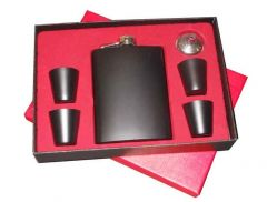 Dynamic Store 6 Pcs Black Hip Flask With Shot Glass Set - DS_439