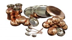 24 Pcs Hammered Dinner Set With Bottom Copper Plating