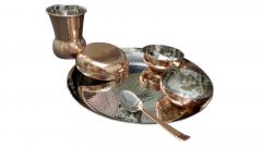 6 Pcs Hammered Dinner Set With Bottom Copper Plating