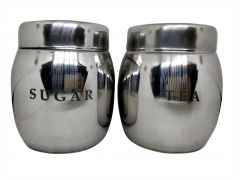 Stainless Steel Barrel Tea & Sugar Canisters