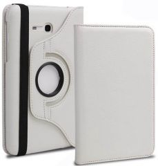 PU Leather 360 Deg Rotatable Leather Flip Case Cover For Samsung Tab 3 Neo T111 T110 Tablet (White)