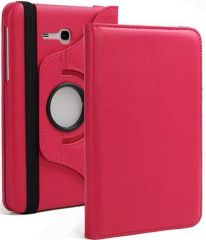 PU Leather 360 Deg Rotatable Leather Flip Case Cover For Samsung Tab 3 Neo T111 T110 Tablet (Hot Pink)