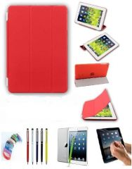 PU Leather Full 360 Rotating Flip Book Cover Case Stand for Samsung Galaxy Tab 3 T311 (Red) with Matte Screen Guard, Stylus and Wrist band