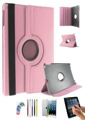 PU Leather 360 Degree Rotating Leather Case Cover Stand (Light Pink) for iPad Mini 2 Retina with Matte Screen Guard, Stylus and Wrist band