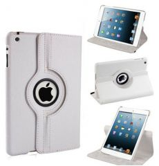 PU Leather 360 Degree Rotating Leather Case Cover Stand (White) for iPad Mini 2 Retina