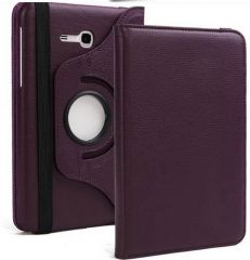 PU Leather 360 Deg Rotatable Leather Flip Case Cover For Samsung Tab 3 Neo T111 T110 Tablet (Purple)
