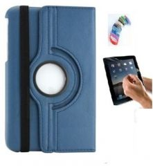 PU Leather 360 Deg Rotatable Leather Flip Case Cover For Samsung Tab 3 Neo T111 T110 Tablet (Navy Blue) with Matte Screen Guard and Wrist band