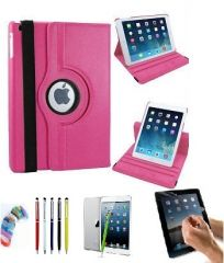PU Leather 360 Degree Rotating Leather Case Cover Stand (Hot Pink) for iPad Mini 2 Retina with Matte Screen Guard, Stylus and Wrist band