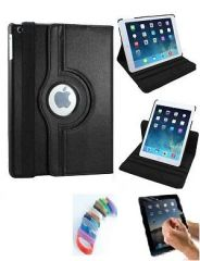 PU Leather Full 360 Degree Rotating Flip Book Case Cover Stand for ipad  air 5  (Black) with Matte Screen Guard and Wrist band