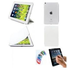 PU Leather 360 Degree Rotating Leather Case Cover Stand (White) for iPad Mini 2 Retina with Matte Screen Guard and Wrist band