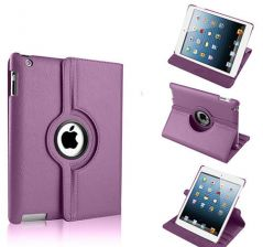 PU Leather Full 360 Degree Rotating Flip Book Case Cover Stand for ipad 4 ipad 3 ipad 2 (Violet )