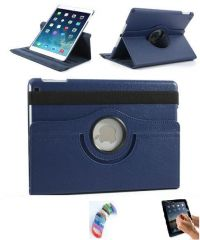 PU Leather Full 360 Degree Rotating Flip Book Case Cover Stand for ipad 4 ipad 3 ipad 2 (Navy Blue) with Matte Screen Guard and Wrist band