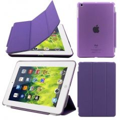 Ultra Thin Magnetic Smart Case Clear Back Cover Stand For Apple iPad Mini 2 Retina (Purple)