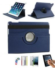 PU Leather Full 360 Degree Rotating Flip Book Case Cover Stand for ipad  air5  (Navy Blue) with Matte Screen Guard, Stylus and Wrist band