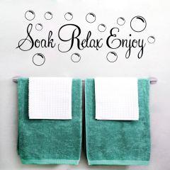 Decor Kafe Soak Relax Enjoy Bathroom Wall Decal  Code - DKBS0111