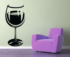 Decor Kafe Wine Glass Art Wall Decal -(Code-DKKS0112L)