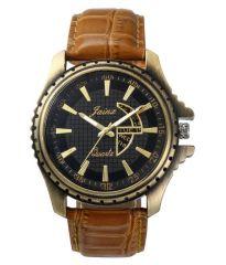 Men's Watches   Round Dial   Leather Belt   Analog - Jainx Black Dial Analog Watch For Men & Boys - JM181