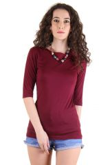 CHIMERA Maroon Half Sleeve Solid Viscose Round Neck T Shirt For Women CHC1102AMAR