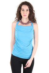 CHIMERA Turquoise Sleeveless Solid Polyester Square Neck Top For Women