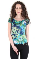 CHIMERA Short Sleeve Printed Polyester Round Neck T Shirt For Women CHC1112AMUL