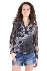 CHIMERA Grey Full Sleeve Floral Print Polyester V-Neck Top For Women